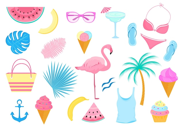 Set estivo di oggetti decorativi per una vacanza al mare. costume da bagno, fenicottero, palma, fette di cocomero, bicchieri, gelato.
