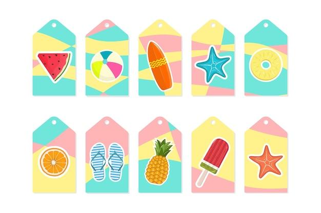 Set estivo di etichette in vendita e regalo, etichette con elementi tropicali e adesivi. sfondo luminoso moderno. illustrazione vettoriale.