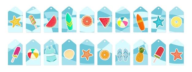 Set estivo di etichette in vendita e regalo, etichette con elementi tropicali e adesivi. illustrazione vettoriale.