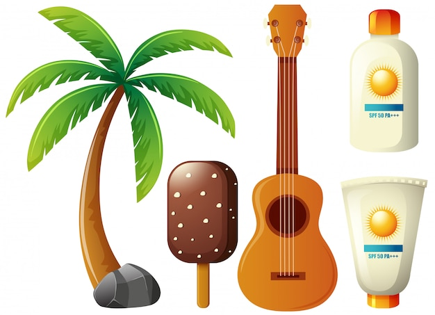 Estate con albero di cocco e chitarra