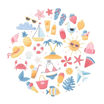 Set estivo con simpatici elementi da spiaggia bikini, infradito, frutta, fiori, palme. elementi del fumetto piatto disegnato a mano. illustrazione vettoriale