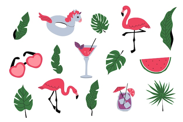 Set estivo con fenicotteri tropicali foglie di palma cocktail bevande anello di gomma unicorno anguria