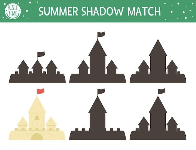 Attività estiva di abbinamento delle ombre per bambini con castello di sabbia
