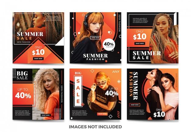 Collezione di modelli di banner per social media estivi con colori unici