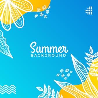 Banner di social media estivo con fiori e foglie estive tropicali.