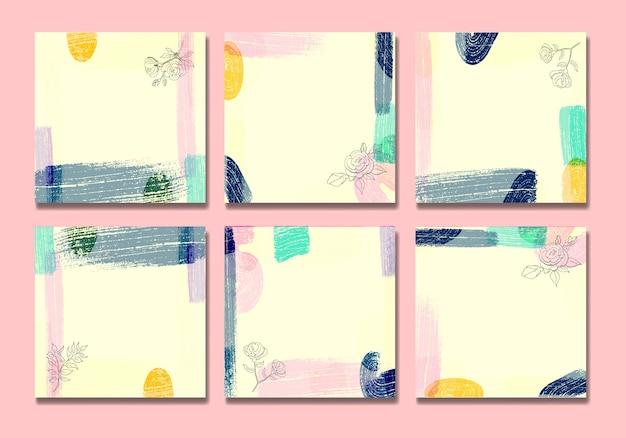 Estate social media post colore pennelli e foglie line art metà secolo