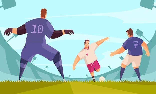 Composizione nel calcio sportivo estivo con i personaggi dei giocatori in abiti da squadra circondati dall'illustrazione delle tribune dello stadio