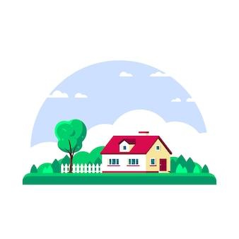 Paesaggio estivo (primavera) con alberi e casa di campagna isolata su priorità bassa bianca.
