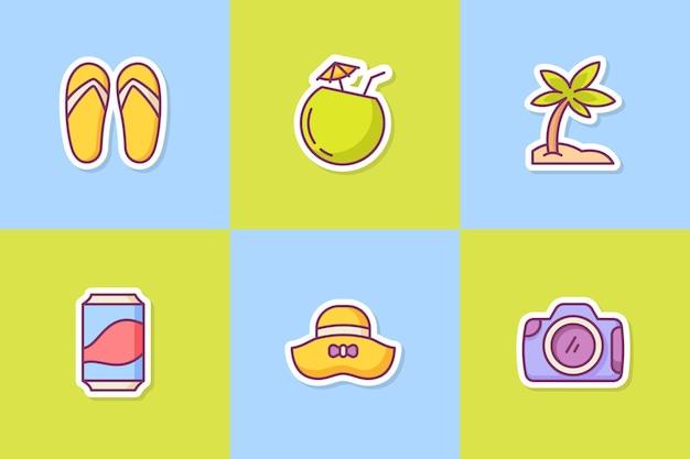 Le icone dell'icona dell'autoadesivo di estate hanno messo il pacchetto della raccolta con lo stile del profilo di colore