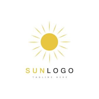 Summer sun logo template vector