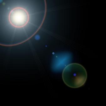 Sole estivo con luci bagliore realistico lente e bagliore su sfondo nero