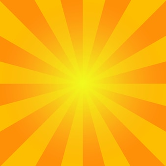 Sunburst estivo. sfondo luminoso raggi arancioni sfondo