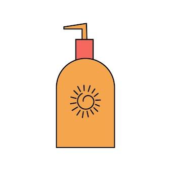 Crema solare estiva, lozione per il corpo. protezione dal sole e dai raggi uvb, uva. illustrazione semplice isolato su priorità bassa bianca. icona dell'estate