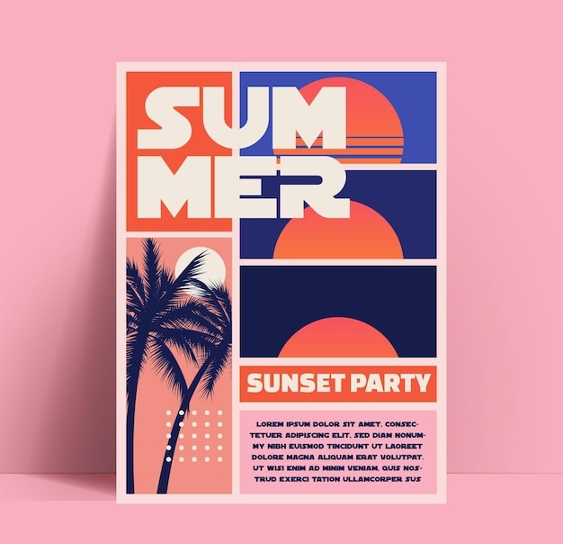 Volantino o poster o banner per una festa in spiaggia estiva al tramonto estivo in stile retrò
