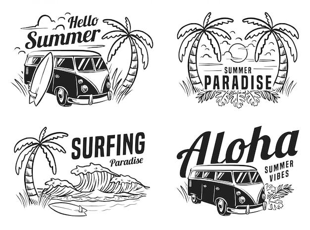 Illustrazione monocromatica della spiaggia di vacanza praticante il surfing di estate