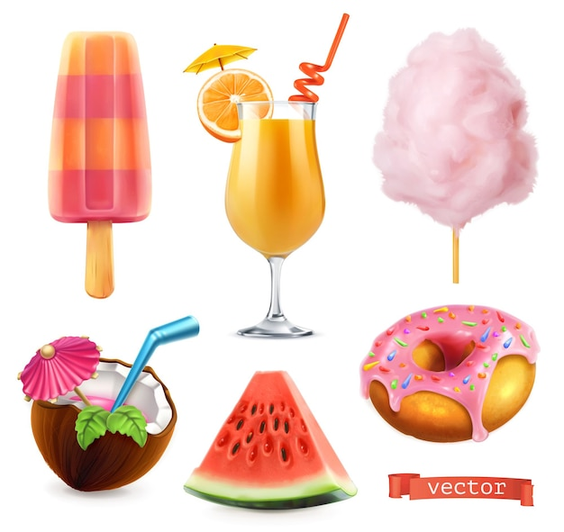Estate, cibo dolce. gelato, succo d'arancia, zucchero filato, cocktail, anguria, ciambella. set di icone realistiche