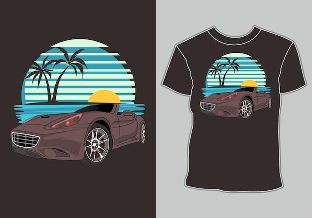 Maglietta estiva, moderne auto da corsa sportive sulla spiaggia