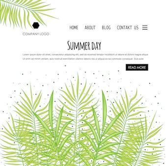Home page del modello estivo con foglie di palma. stile cartone animato. illustrazione vettoriale.