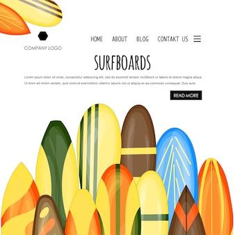 Home page del modello estivo con tavole da surf. stile cartone animato.