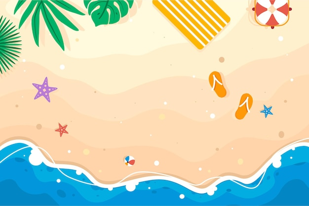 Banner a tema estivo sulla bellissima spiaggia e sfondo di sabbia con boa e frutta vettore premium