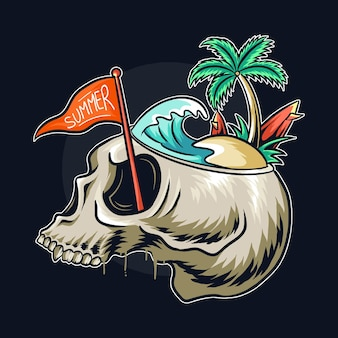 Testa di teschio a tema estivo con il concetto in testa c'è una spiaggia con onde del mare, alberi di cocco e tavole da surf.