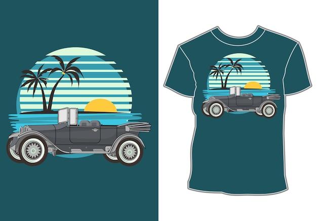 Disegni di t-shirt a tema estivo e auto classiche, retrò e vintage
