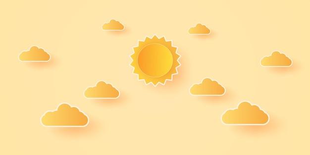 Summer time, cloudscape, cielo luminoso con nuvole e sole, stile di arte della carta