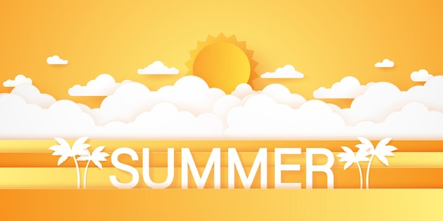 Summer time, cloudscape, cielo nuvoloso e sole splendente, stile paper art