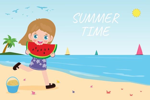 Ora legale simpatico ragazzino che tiene anguria e salta sul cartone animato piatto spiaggia.
