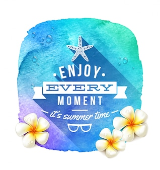 Saluto di ora legale e fiori tropicali del frangipane su un'insegna blu del fondo dell'acquerello