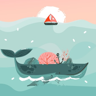 Illustrazione dell'ora legale balena di bellezza nelle onde dell'oceano, vela, scena del tramonto isolato su sfondo blu