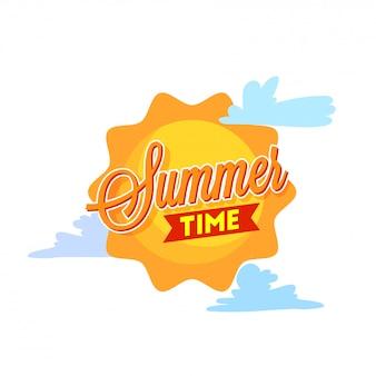 Summer time poster o banner design con sole