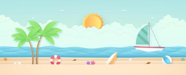 Ora legale, paesaggio marino, paesaggio, barca a vela con mare, spiaggia e cose, nuvola, sole, stile di arte della carta