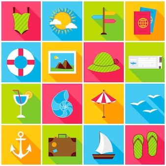 Icone colorate di viaggio estivo. illustrazione di vettore. set di elementi di sigillo rettangolo piatto con ombra lunga.