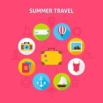 Concetto di viaggio estivo. illustrazione di vettore del cerchio di infographics di vacanza del mare con le icone piane.