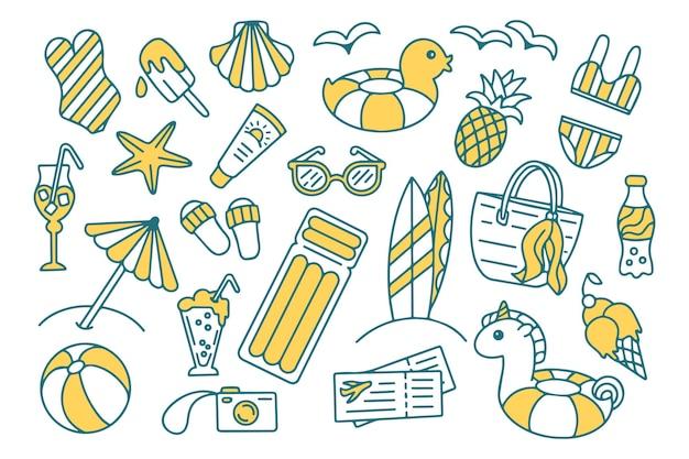 Set di doodle di viaggi estivi, vacanze e vacanze isolato su sfondo bianco vettore di spiaggia disegnata a mano