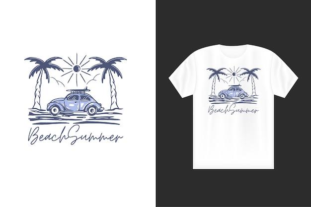 Illustrazione di viaggio estivo con viaggio di viaggio di turismo estivo di logo di concetto di spiaggia di autobus d'epoca