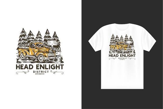 Illustrazione di viaggio estivo con testa vintage enlight concept logo viaggio di viaggio turistico estivo