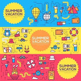 Progettazione di banner di elementi di icone infographic di viaggio estivo