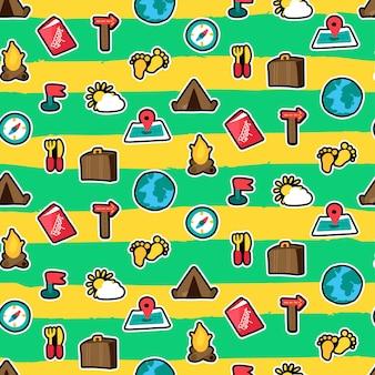 Reticolo senza giunte di viaggio estivo. viaggio. escursionismo, adesivi da campeggio su sfondo pennellate