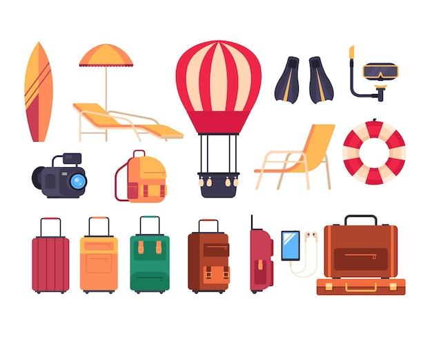 Insieme isolato turismo di viaggio estivo. Vettore Premium