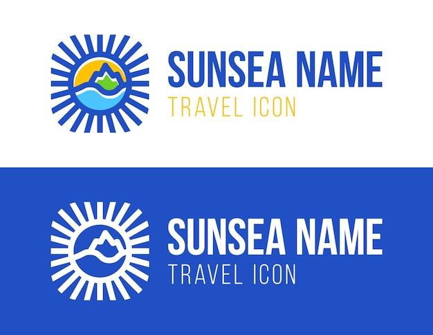 Illustrazione di concetto di logo di vacanza di viaggio estivo in forma di cerchio.