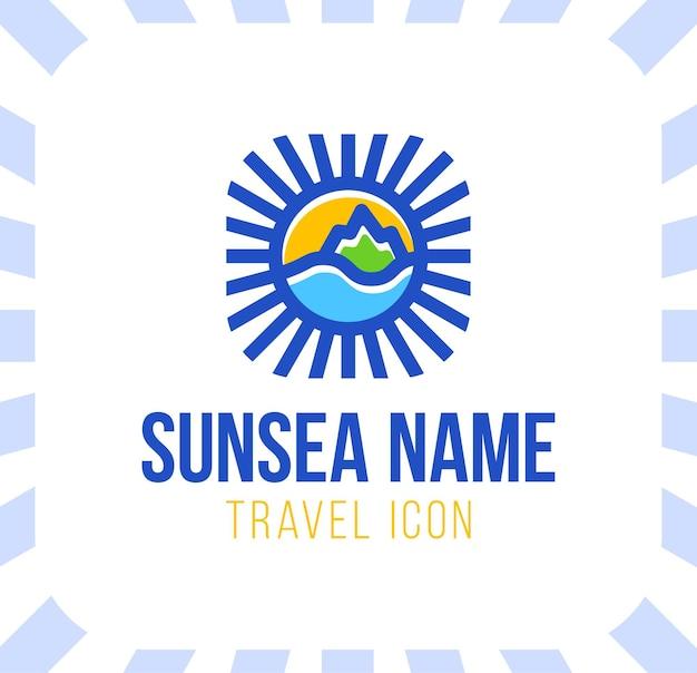 Illustrazione di concetto di logo di vacanza di viaggio estivo in forma di cerchio