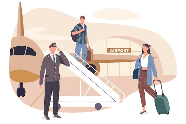 Concetto di web di viaggio estivo. i passeggeri con le valigie scendono dall'aereo scala. uomo e donna arrivano al resort in vacanza