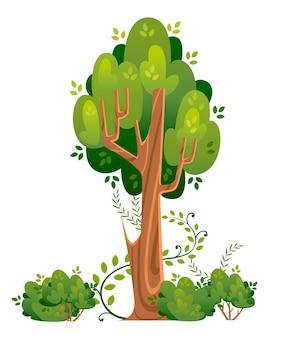 Albero estivo e cespugli dentro. spazi verdi. illustrazione