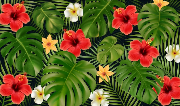 Estate sfondo tropicale. fiori tropicali e foglie di monstera, foglie di palma delle piante tropicali isolate su fondo nero.