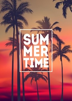 Estate sfondo tropicale con palme, cielo e tramonto. carta di invito volantino poster cartello estivo. estate.