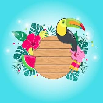 Sfondo tropicale estivo con tavola di legno, foglie e fiori tropicali, tucano e frutta