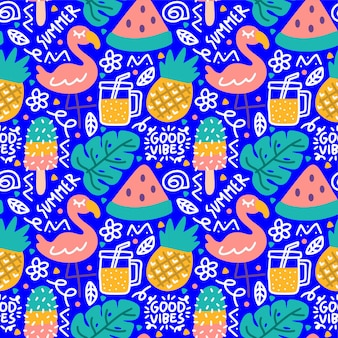 Estate tropicale doodle buone vibrazioni fenicottero monstera succo di anguria seamless pattern