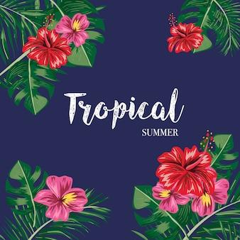 Estate foglie tropicali e fiori sullo sfondo.